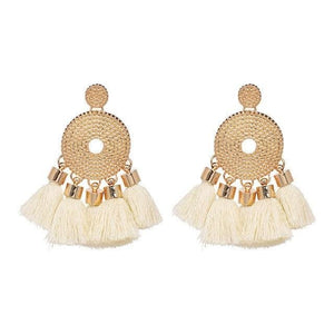 Tassel Fringe Earrings (5 Colors) - Beige