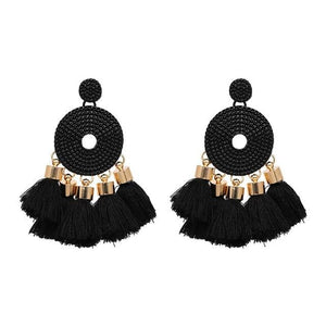 Tassel Fringe Earrings (5 Colors) - Black
