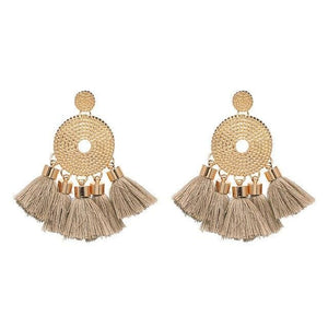 Tassel Fringe Earrings (5 Colors) - Brown