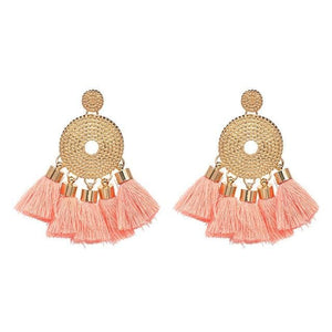 Tassel Fringe Earrings (5 Colors) - Pink