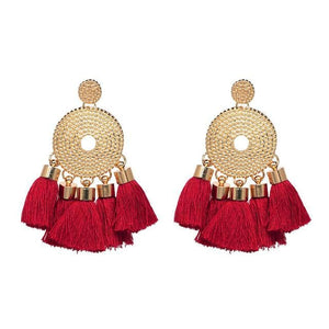 Tassel Fringe Earrings (5 Colors) - Red