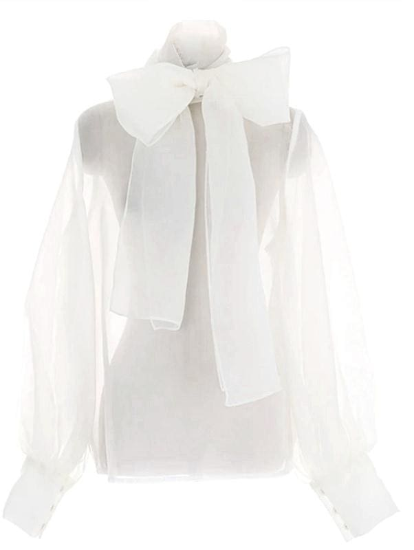 Tie-Neck Sheer Blouse - White / L