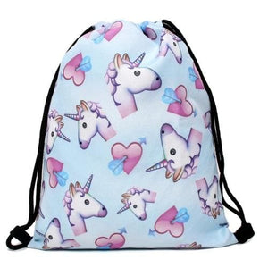 Unicorn Lovers 3-Piece Bag Set Blue - Drawstring Backpack