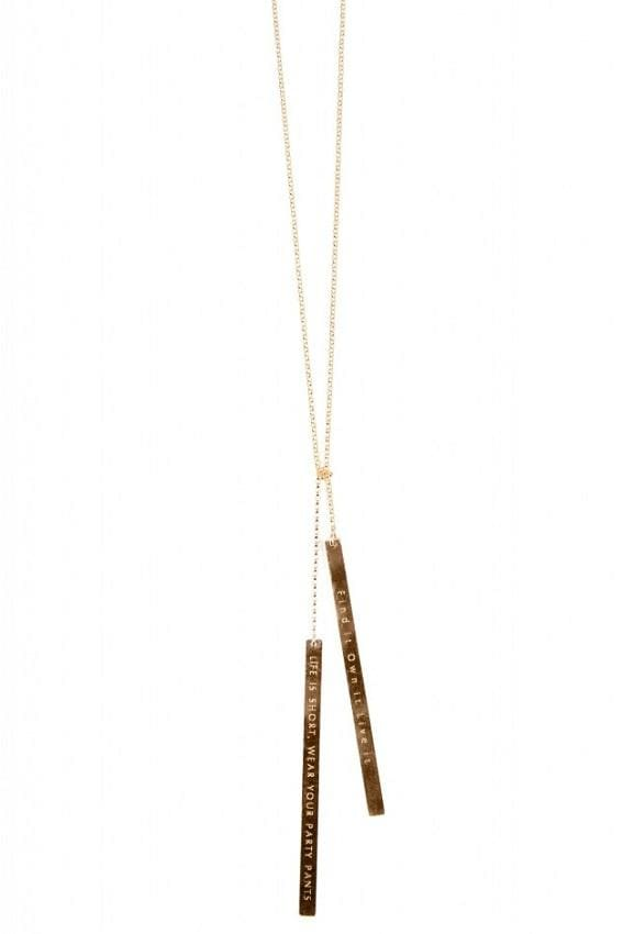 Vertical Bar Tie Necklace With Message (9∙Variants)