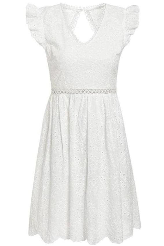 White Eyelet Open Back Mini Dress