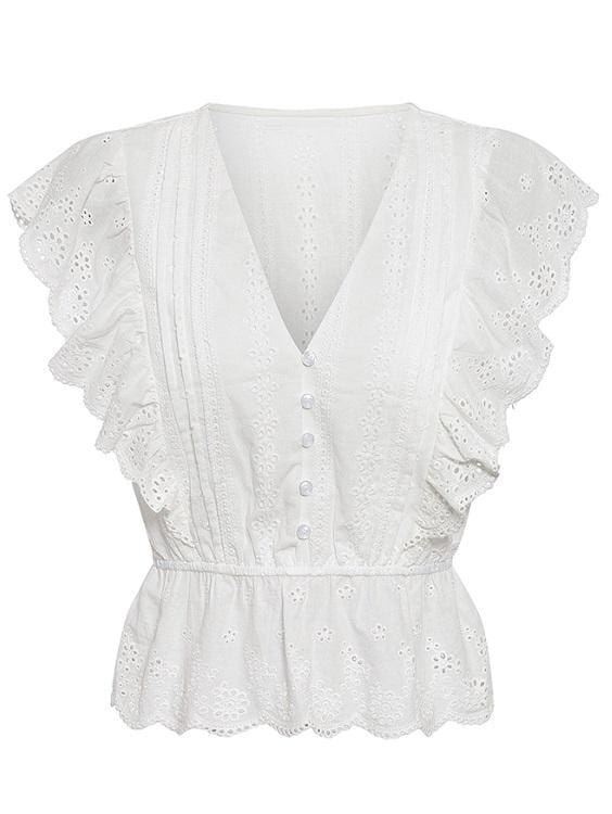 White Eyelet Ruffle Top