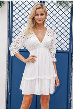 White Eyelet Sleeve Summer Dress
