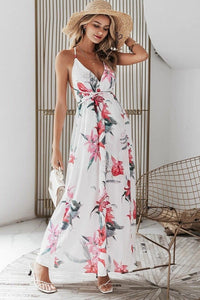 White Floral Print Backless Wrap Maxi Dress