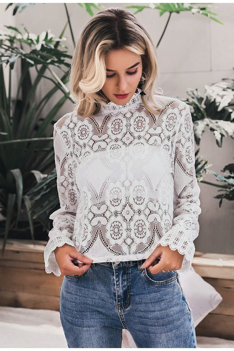 White Long Sleeve Lace Top