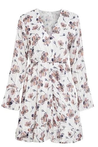 White Long Sleeve Ruffle Hem Floral Dress