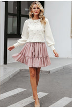 White Puff Sleeve Pom-Pom Sweater