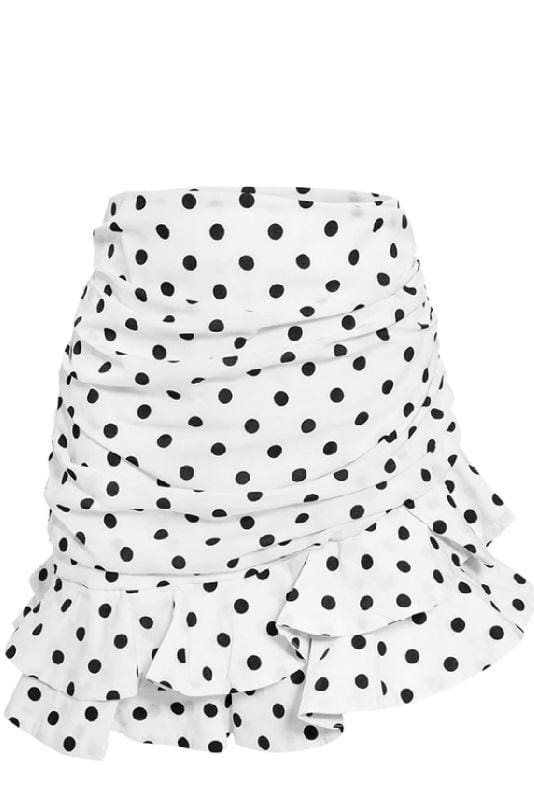 White Ruched Polka Dot Mini Skirt