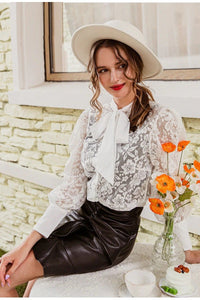 White Tie-Neck Lace Blouse