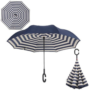 Windproof Reverse Folding Umbrella (27 Colors) - Naval stripe