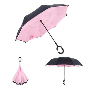Windproof Reverse Folding Umbrella (27 Colors) - Pink