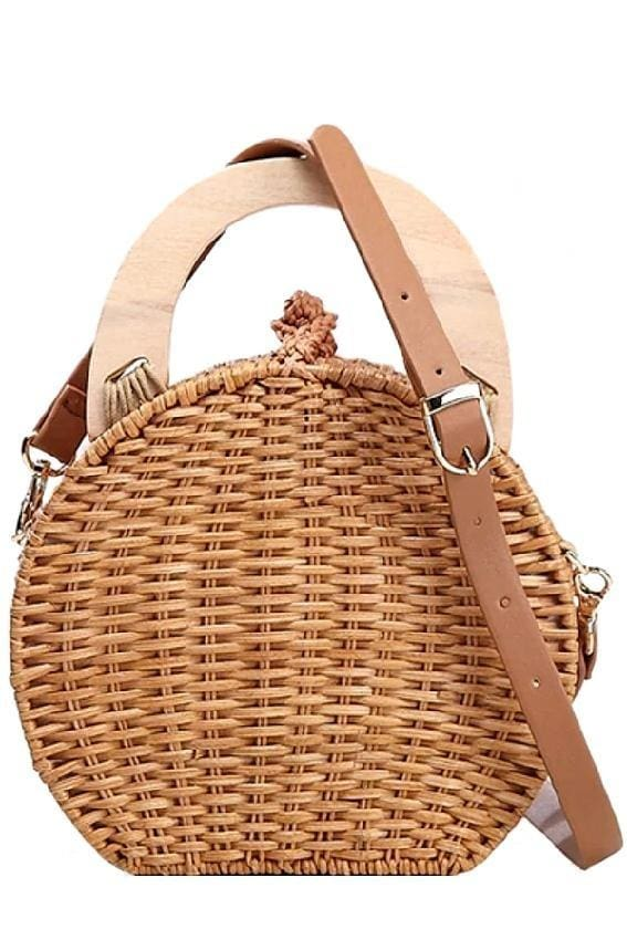 Wooden Handle Rattan Bag