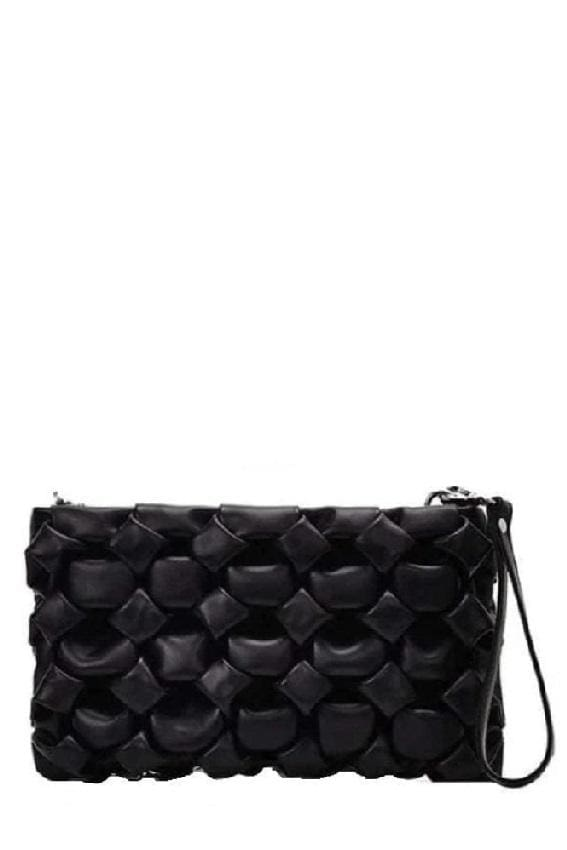 Woven Faux-Leather Clutch