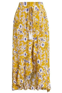 Yellow Floral Print High-Low Midi Skirt
