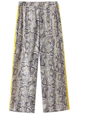 Yellow Side Stripe Snake Skin Pattern Trousers