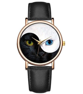 Yin Yang Cat Watch - Black