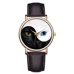 Yin Yang Cat Watch - Dark Brown