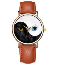 Yin Yang Cat Watch - Light Brown