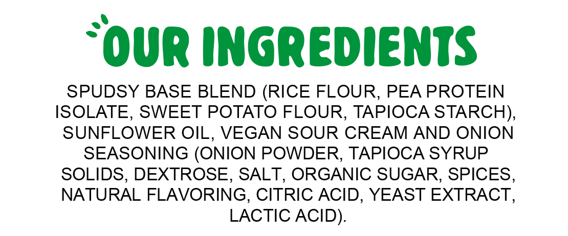 Ingredients for Spudsy Vegan Sour Cream & Onion Puffs
