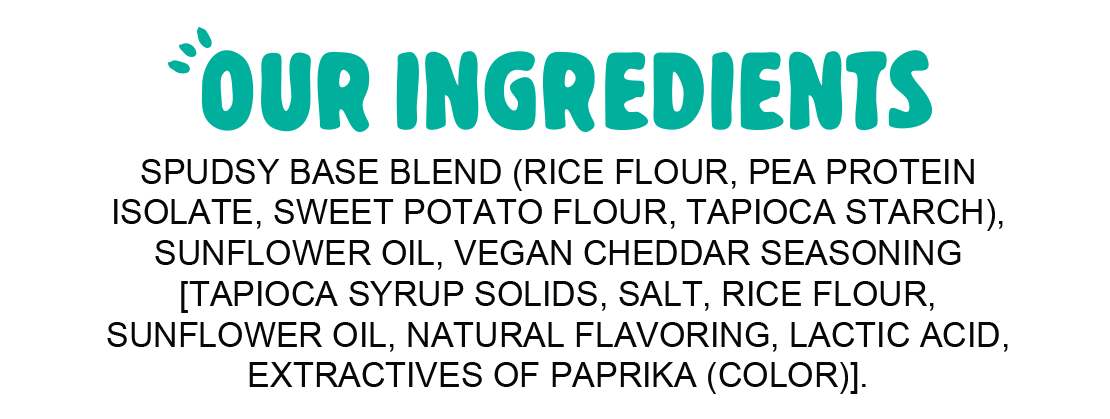 Ingredients for Spudsy Vegan Cheesy Cheddar Puffs