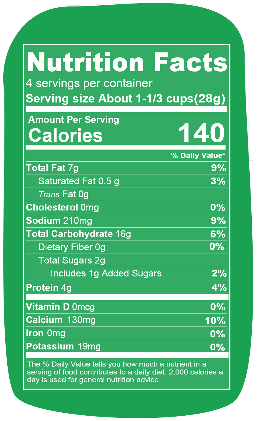Nutrition info for Spudsy Vegan Sour Cream & Onion Puffs
