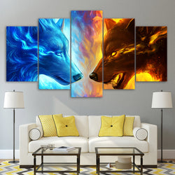 Ice and Fire Wolf Painting Canvas Art