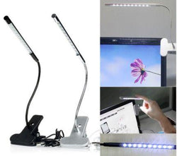 Clip-on 10 LED USB Light Flexible Gooseneck Reading Touch Desk Table Lamp