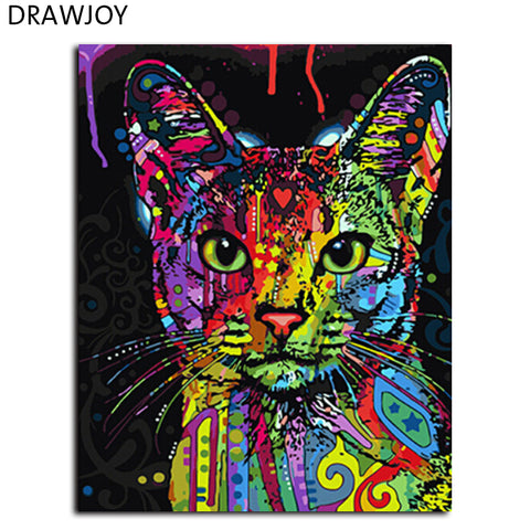 Colorful Cat Abstract Oil Painting