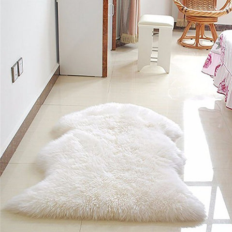 Wool Plain Fluffy Area Rug
