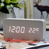 Sleek Wooden LED Alarm Clock