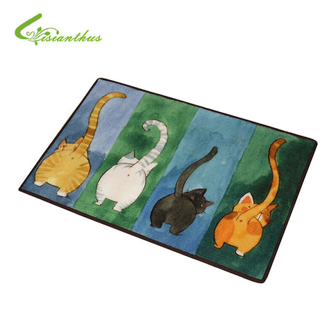 Cute Four Cats Printed Anti-Slip Rug
