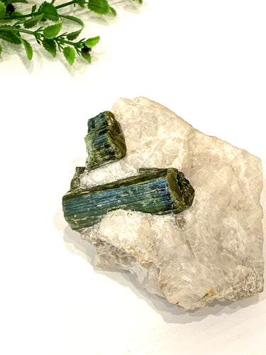 Green Tourmaline in Matrix