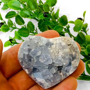 Celestite Heart with Flat Back