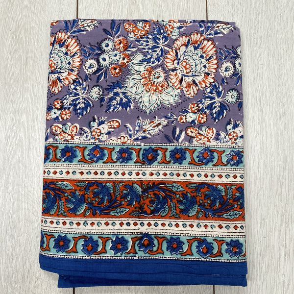 Block Printed Tablecloth - Purple and Blue