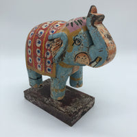 Wooden Elephant on Stand - Pale Blue