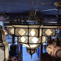 Moroccan Hanging Lantern - Frosted Star, Large