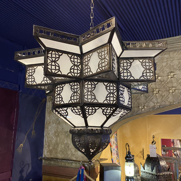 Moroccan Hanging Lantern - Frosted Star, Medium