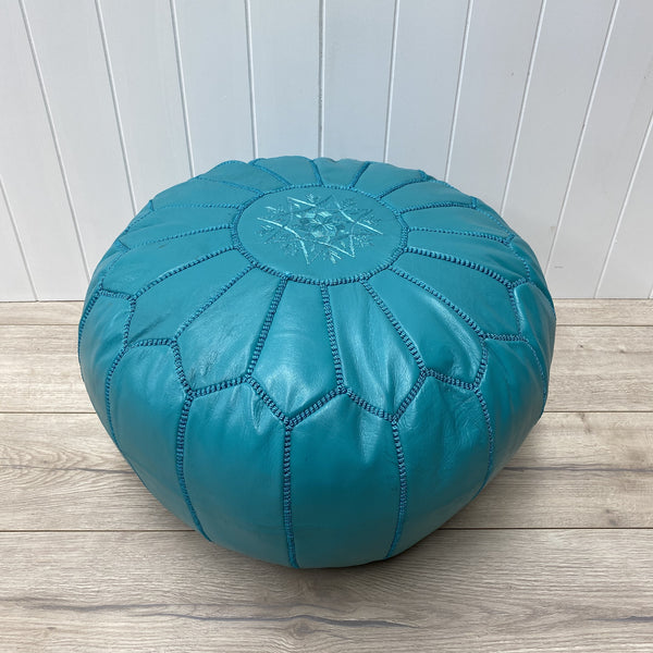 Moroccan Leather Ottoman - Turquoise