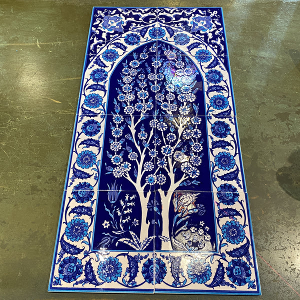 Turkish Tile Scene - 8 pce Double Tree, Blue and White 1