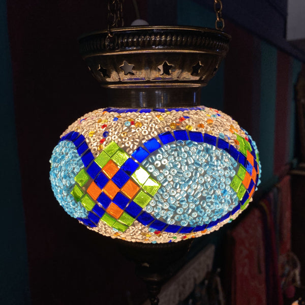 Turkish Mosaic Hanging Tea Light - Blue & Green Diamond