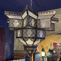 Moroccan Hanging Lantern - Clear Star, Medium