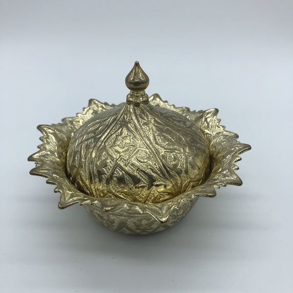 Turkish Metal Sweets/Sugar Bowl - Gold