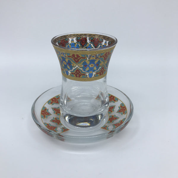 Turkish Tea Glasses - Red, Blue and Gold