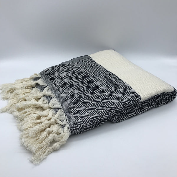 Turkish Towel Diamond Weave Black