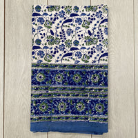 Block Printed Tablecloth - Green and Blue Flower