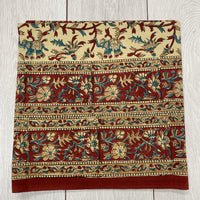Square Block Printed Tablecloth - Dark Red